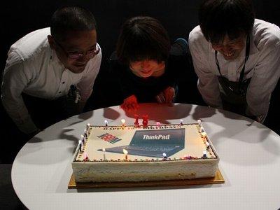 ThinkPadの誕生祝いのケーキ