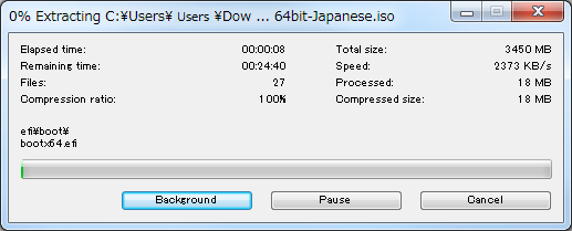 Universal USB InstallerでISO書込み
