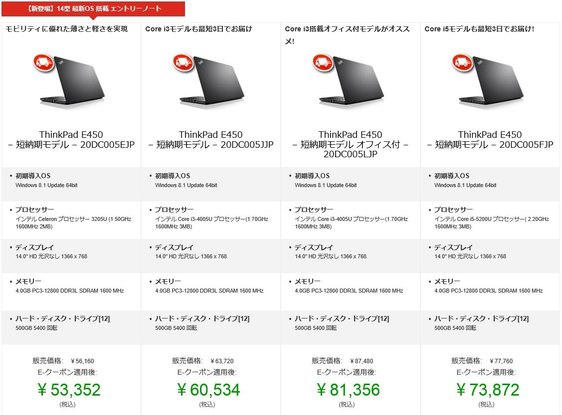 ThinkPad E450短納期モデルのラインナップ (2015年4月)