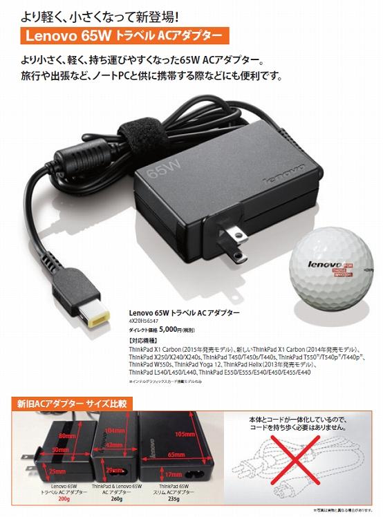 Lenovo 65W トラベル AC アダプター 4X20H56547