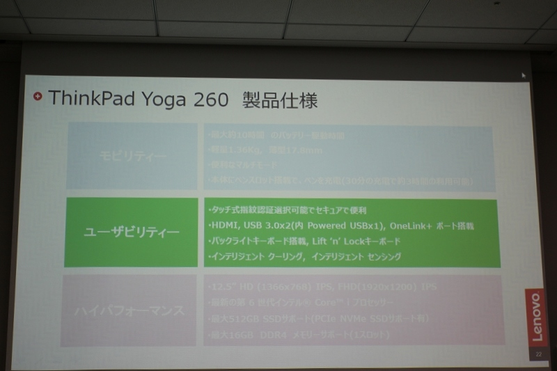ThinkPad Yoga 260 ユーザビリティー