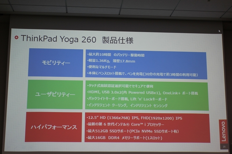 ThinkPad Yoga 260 製品仕様