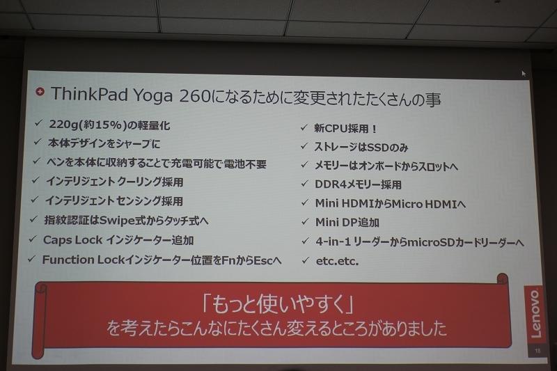 ThinkPad Yoga 260になるために変更されたたくさんの事