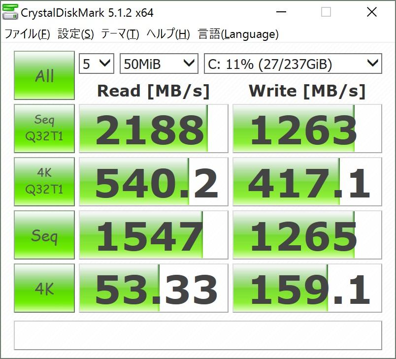 ThinkPad X1 CarbonのNVMeのCrystalDiskMark計測結果(50MB)