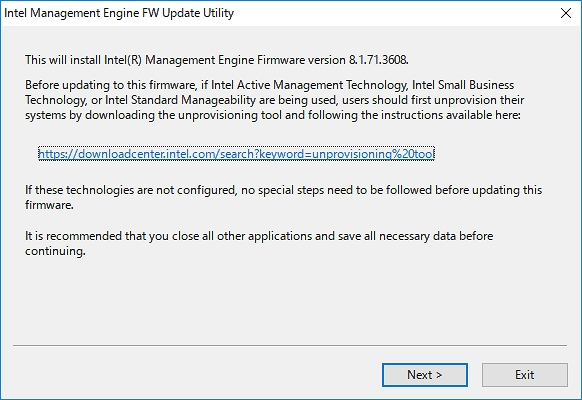 Intel Management Engine FW Update Utility