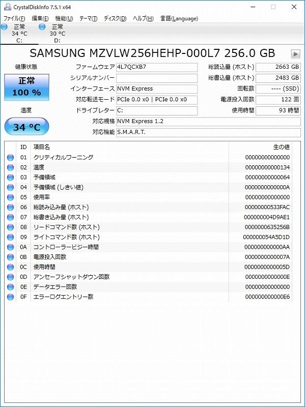 SSDのベンチマーク結果 CrystalDiskInfo