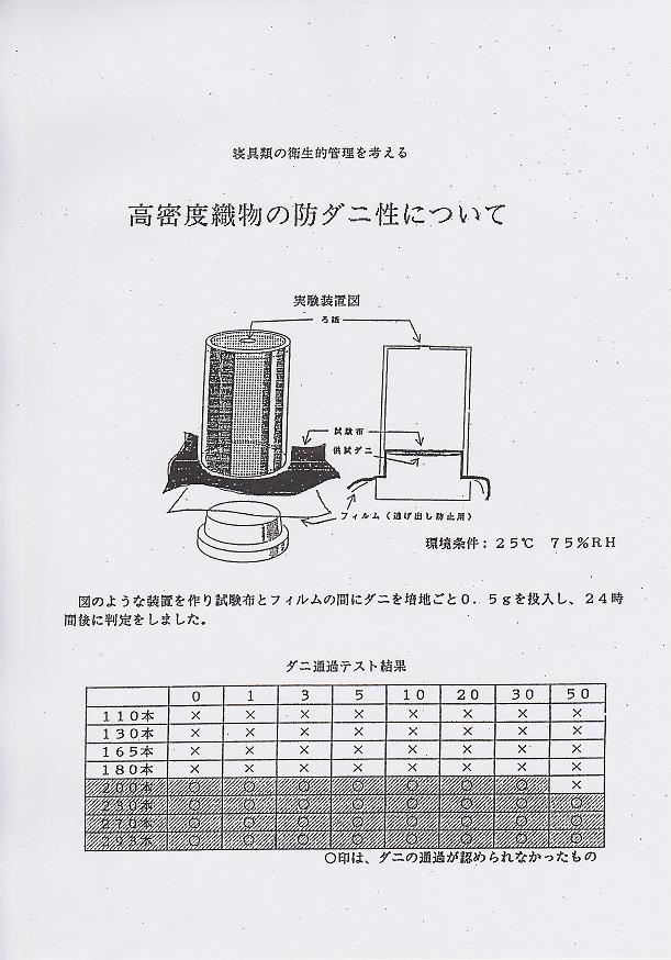高密度織物の防ダニ性について