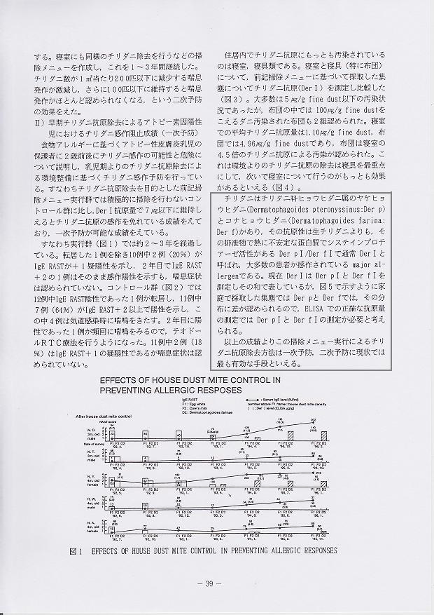 アトピー家庭におけるチリダニ抗原除去によるチリダニ感作予防(一時予防)と発症阻止(二次予防)効果2 佐々木聖