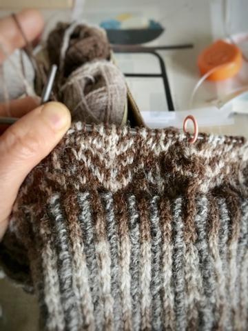 リスのセーターへ、渡り糸のこと