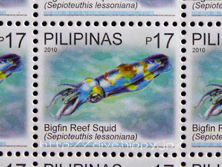フィリピンの海洋生物の切手/アオリイカ