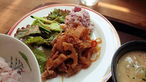 豚肉とレンコンしらたきの甘辛炒め煮