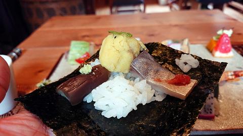 カレーマッシュポテト、燻製しめ鯖、ナス
