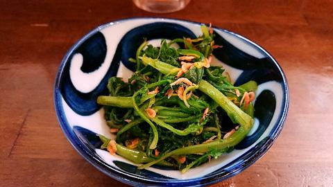 菊菜とアミエビのお浸し