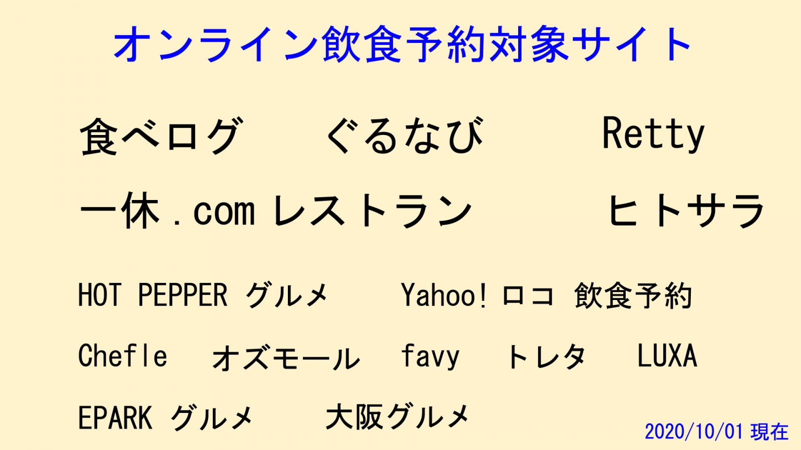 オンライン予約対象サイト
