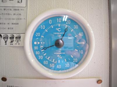 蒸し蒸しする日の温湿度計(>_<;)