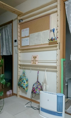 DIY作品☆保育園グッズ収納壁