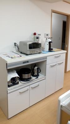 家電収納&給湯コーナー。こちらでお茶の準備が完結します!