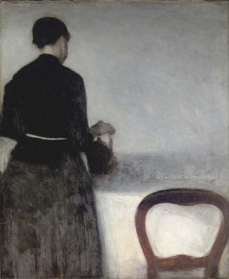 En unge pige, som hoelder af en kande (Young Girl Pouring Tea - the Artists Sister