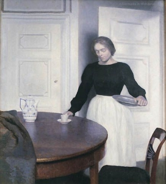 Above, Interior, Strandgade 30, Setting the Table,Vilhelm Hammershøi 1899