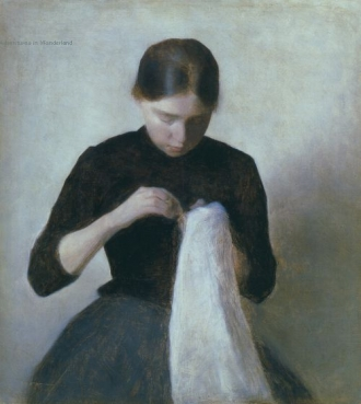 Young Girl Sewing (Anna Hammershøi) 1887