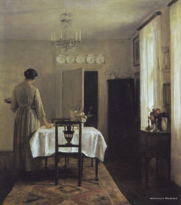 Above, Artist's Wife Setting the Table