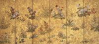伊年印 四季草花図屏風 右隻 細見美術館蔵