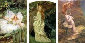 左:Simmonds 「Ofelias」1890年 中央:Arthur Hughes 「Ophelia」 1863-64年 右:Jules-Joseph Lefebvre 「Ofelias」1895年