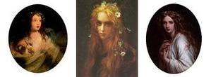 左:James Sant「 Ophelia」 1864年 中央:Antoine-Auguste-Ernest Hebert「 Ophelia」 1910年 右:Sir Frank Dicksee「 Ophelia」 1861年
