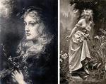左:Anna Lea Merritt「Ofelias」1889年 右:Madeliene Lemaire「Ofelias」1880年