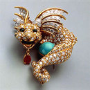 ティファニー Dragon Brooch by Donald Claflin, circa 1967; platinum, gold, turquoise, diamonds, emeralds, ruby