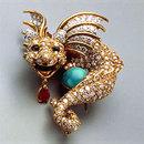 ティファニー Dragon Brooch by Donald Claflin, circa 1967; platinum, gold, turquoise, diamonds, emeralds, ruby