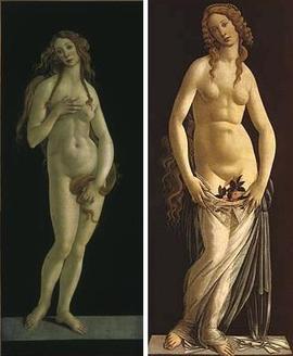 左「ヴィーナス」、右「恥らうヴィーナス」