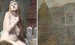 左:「レディ・ゴディバ」Jules-Joseph Lefebvre (ジュール・ジョゼフ・ルフェーブル) (1836-1911) 右:「レディ・ゴディバ」Adam Von Noort 全体画像は「Full-Size」から。