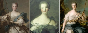 Jean-Marc Nattier  Pompadour 左:Madame Pompadour 1752 中央:A portrait of Marchioness of Pompadour 1748年、同じようにみえる作品でもう一点がA portrait of Madame Pompadour as Dianeで、左の袖部分に違いがあります。 右:A portrait of Madame Pompadour as Diane 1746年