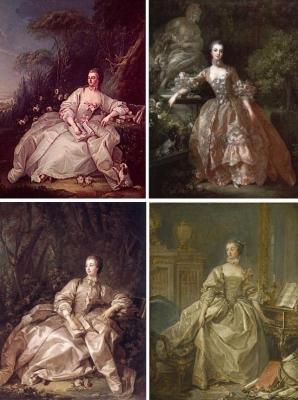 右上はMadame de Pompadour 1759年 右下のマダム・ポンパドゥールはハープシーコードに手をかけています。「François Boucher Madame de Pompadour with Her Hand Resting on a Harpsichord Keyboard」 1759年のこのポンパドール夫人は、1750年の作品と同じ構図です。 左上:左下の作品と似ていますが背景が違います。年代不詳 左下:Madame de Pompadour 1758