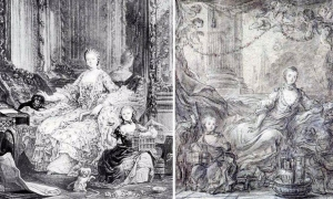 François Guérin 左:Madame de Pompadour and Alexandrine  右:Madame de Pompadour  個人所蔵