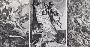engraving made by Madame de Pompadour 右:1752年、ノンタイトル 中央:(ポンパドール夫人の)版画コレクションの表紙 左:1752年、ノンタイトル