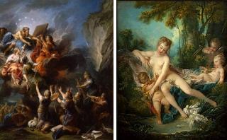 左:Carle Vanloo, Les Arts suppliants demandant au Destin d'épargner la vie de madame de Pompadour 1764年 右:François Boucher Venus comforts Love