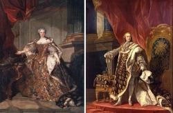 右:ルイ15世 王家の紋章服 King Louis XV of France (1710?1774) by Louis-Michel van Loo 左:王妃マリ・レチンスカ 王家の青地に百合花紋 The Queen Maria Leszczynska