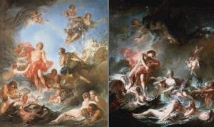 1753年のサロンに出品されたこの2枚の絵画は、ポンパドゥール夫人がベルヴュ城のために買い上げしたブーシェの日没と日の出。現在はウォーレス・コレクション所蔵