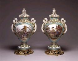 Pair of Potpourri Vases Sèvres Porcelain Manufactory  Jean-Claude Duplessis le Père  Charles Nicolas Dodin  ca. 1761
