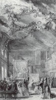 1757年、ブーシェの作品。パリのサロンでマダム・ド・ポンパドゥールの肖像画に集まる人々