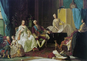 Portrait of Felipe of Parma and his family by Giuseppe Baldrighi  「Felipe of Parma and his wife Louise Élisabeth de France with their younger children Ferdinand, the later Ferdinand I of Parma and Maria Luisa, (later Queen of Spain), Parma, Galleria Nazionale; The girl is keeping her brother's miniature sword away from him−(C)wiki」