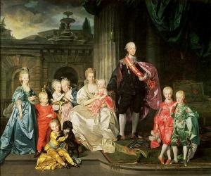 Großherzog Pietro Leopoldo von Toskana mit seiner Familie im Hof des Palazzo Pitti, Florenz 1776 by Johann Zoffany Kunsthistorisches Museum, Gemäldegalerie Pietro Leopoldo (ab 1790 Kaiser Leopold II.), seine Frau Maria Ludovica, Tochter Karls III. von Spanien, und acht von insgesamt sechzehn Kindern sind im Cortile des Palazzo Pitti in Florenz dargestellt