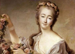 Madame du Barry en Flore auf einem Gemälde von Francois Hubert Drouais