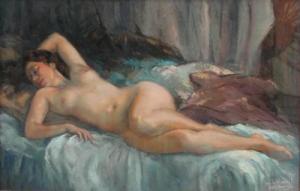 Lucien LEVY DHURMER 「 Nu au drap bleu 」 1930年