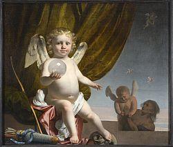 Caesar Boetius van Everdingen - Amor eine. Glaskugel haltend, 1650 - 55