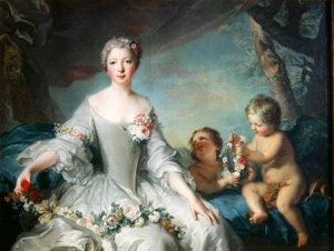 Portrait presumed to be Louise Diane dOrleans 1716-36 as Flora 1731