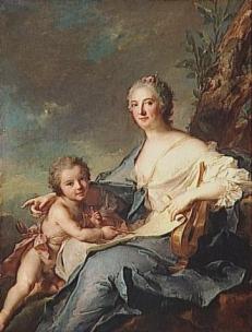 Jean-Marc Nattier MADAME DE SOMBREVAL, REPRESENTEE EN ERATO, MUSE DE LA POESIE LYRIQUE musee du Louvre departement des Peintures