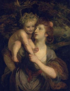 Mrs Hartley as a Nymph with a Young Bacchus  exhibited 1773 tate
